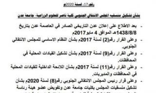 الوالي يصدر قرار بشأن تشكيل منسقية المجلس الانتقالي الجنوبي في كلية ناصر للعلوم الزراعية جامعة عدن