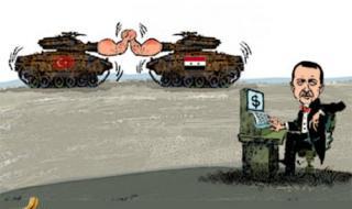 أردوغان يهرب من أزماته الداخلية ويواصل العدوان على سوريا (كاريكاتير)